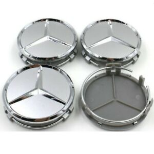 4pcs 75mm Silver Wheel Center Hub Caps Logo Badge Emblem Sticker Mercedes Benz