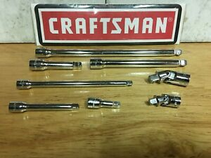 New Craftsman 8 Pc 1 4 3 8 Extension Bar Universal Joint Set Tool Socket