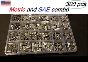 300 Pcs Aluminum rivet Nut kit Rivnut Nutsert Assort 150pcs Metric 150pcs Sae