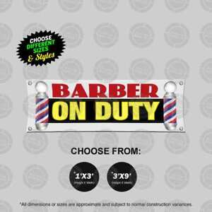 Barber On Duty Banner Barbershop On Duty Sign Hiring Display Open Pole Cheap New