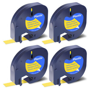 4x Black On Yellow Plastic Tape Label 91332 For Dymo Letra Tag Lt 100h 100t Qx50