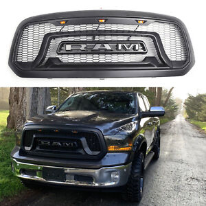 Matte Black Grille For 2013 2018 Dodge Ram 1500 Grill Mesh Rebel Style W led