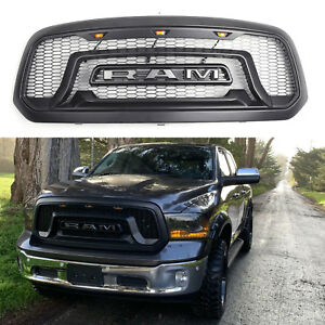 Matte Black Grille Fit For 2013 2018 Dodge Ram 1500 Grill Mesh Rebel Style W led
