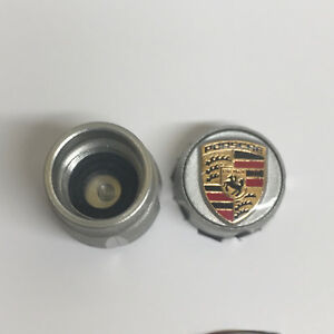 Porsche Design Oem Factory New Tpms Approved Crested Valve Stem Caps In Silver