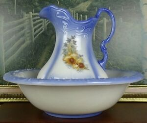 Vintage Ironstone Pitcher And Basin Set Wash Jug Bowl Blue Local Pick Up Only
