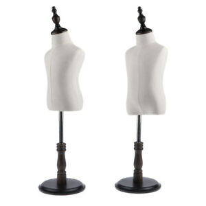 2x Moveable Kids Dress Form Mannequin Bust Upper Torso Stand Cloth Display