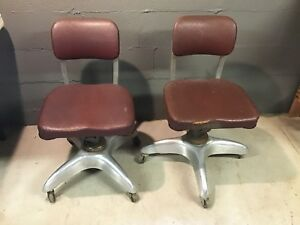 2 Vintage Mid Century Industrial Goodform Aluminum Desk Chair Propeller Base