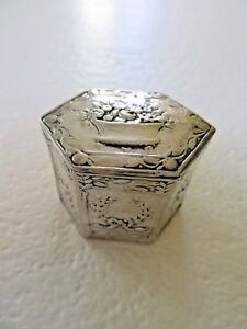 Antique Sterling Silver Italy Pill Box Basket Wreath Repousse Trinket Signed