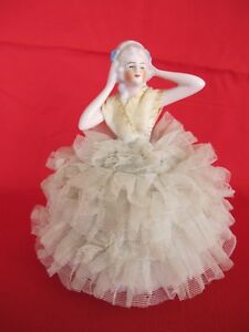 Antique French Louis 14th Porcelain Figurine Lace Draped Petticoat West Germany