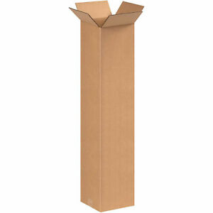 8 x8 x38 Tall Corrugated Boxes 200 Lb Test ect 32 Kraft 25 Pack Lot Of 25