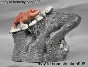 Chinese Natural Shoushan Stone Carved Lizard Beast Statue Brush Pot Pencil Vase