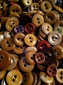 Lot Of 300 Antique Vintage China Buttons Shades Of Brown