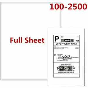 100 2500 Full Sheet Shipping Labels Premium 8 5 X 11 Self Adhesive Blank