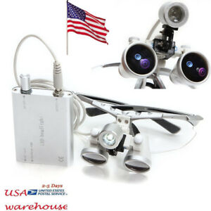 3 5 X 420mm Dental Silver Surgical Binocular Loupes With Led Head Light Usa