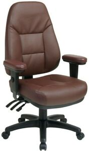 Office Chair Executive Task Desk Computer Padded Seat Swivel Wheels Faux Leather