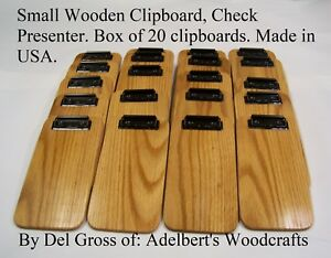 20 Small Wooden Clipboard Memo Clipboard Check Presenter Solid Red Oak Usa