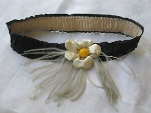Antique Vintage French Silk Lingerie Garter Trim Ribbonwork Flower