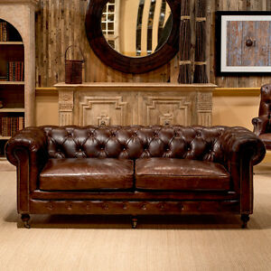 89 Sofa Vintage Cigar Brown Top Grain Leather Tufted Chesterfield Industrial