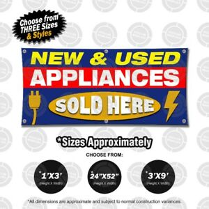 New Used Appliances Sold Here Banner Open Sign Display Fix Repair Service Shop