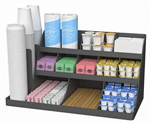 Mind Reader 14 Compartment 3 Tier Large Breakroom Coffee Condiment Organizer Bl