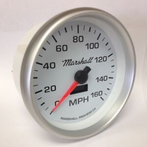 Marshall 5 In dash Electronic Speedometer White Dial Silver Bezel 2254
