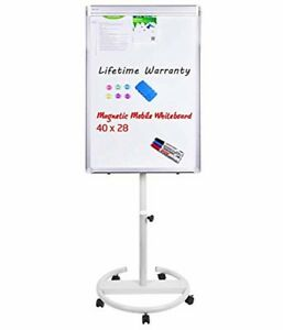 Magnetic Mobile Whiteboard 40x28 Inches Whiteboard On Wheels With Stand Heigh