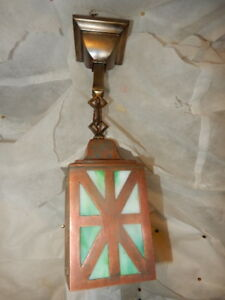 Mission Arts Crafts Brass Pendant Light Fixture W Slag Glass Shade