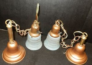 2 Antique Matching Brass Hanging Bell Ceiling Lights Shades Original Both Wired