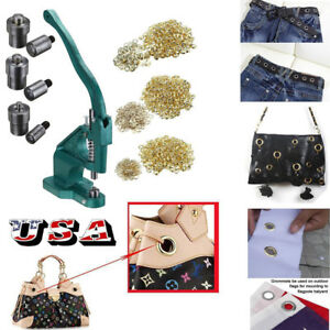 900pcs Grommet Punch Machine Eyelet Punching Hand Press Tool With 3 Sizes Dies