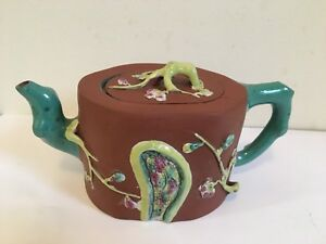 Vintage Chinese Zisha Clay Teapot With Colorful Glaze Of Prunus Flowers