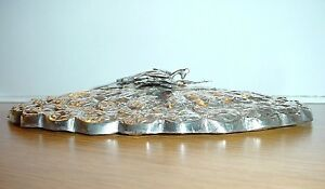 Antique Ottoman Turkish Sterling Silver Mirror With Tugra Repousse Hand Mirror