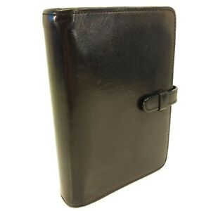Coach Black Leather Small 6 X 4 25 6 Ring Notebook For Filofax Pocket Size
