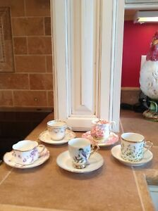 Lot Of 5 Mixed Vintage And Antique Demitasse Cups And Saucers All Good Quality