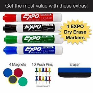 Magnetic Dry Erase And Cork Combo Board 24x36 Aluminum Frame With 4 Markers 4