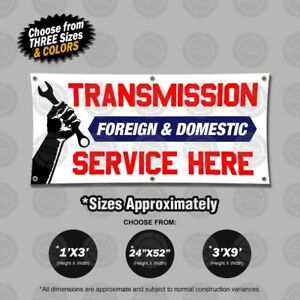 Transmission Foreign Domestic Service Banner Open Sign Mechanic Shop Auto Lona