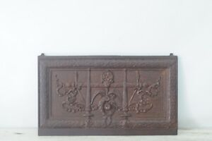 Antique Cast Iron Salvage Grate Front Panel Insert Fireplace Salvage