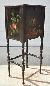 Antique Chinese Black Hnd Ptd Telephone Side End Accent Table Desk Rockford 5243