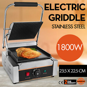 Commercial Electric Contact Press Grill Griddle Bbq Stainless Steel Kitchen