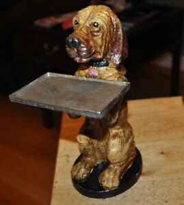 Cast Iron Basset Hound Blood Hound Business Card Holder Office Desk Awesome