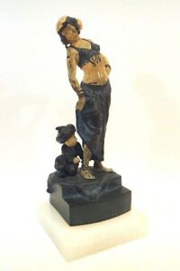 Signed Franz Bergman Austrian Cold Painted Bronze Harem Girl Odalisque And Boy