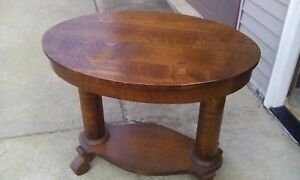 Vtg Tiger Quatersawn Oval Oak Library Table Parlor Lamp Plant Table