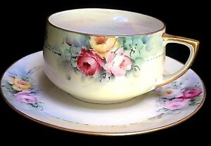 Beautiful Mz Austria Hand Painted Roses Cup Saucer