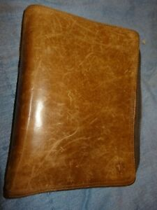 Vintage Classic Brown Leather Franklin Covey Zip Planner binder