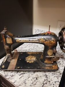 Antique Singer Treadle Sewing Machine Gold Egyptian Sphinx Vintage 1891