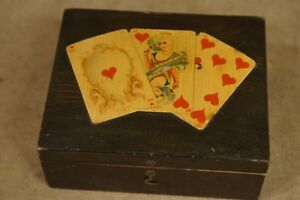 Antique Wilcox Gibbs Sewing Machines Wood Box Playing Cards