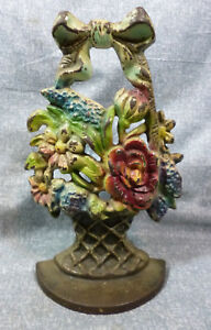 Antique Creations Co 163 Mixed Flowers In Woven Basket Cast Iron Door Stop