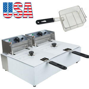 usa Electric Countertop Deep Fryer Dual Tank Commercial Restaurant Safety Use