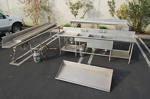 3 Compartment Stainless Sink Dishwasher Tables clean dirty Disposal Restaurant