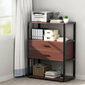 Office Home 2 drawer Dresser Vertical Tall Filing Cabinet With 3 tier Open Shelf