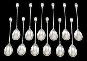 12 Antique 19th Century American Coin Silver Ball End Egg Spoons